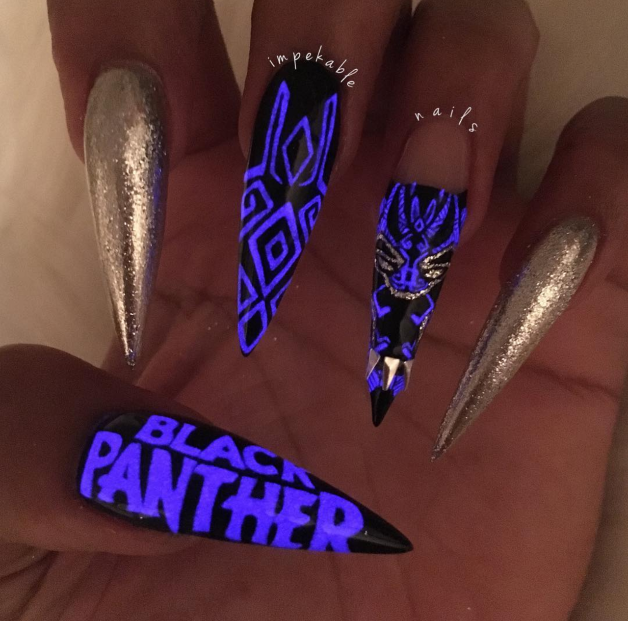 Black Panther nail art inspired by the costumes of each character - Black Panther Inspired Nails: Slay All Through Wakanda