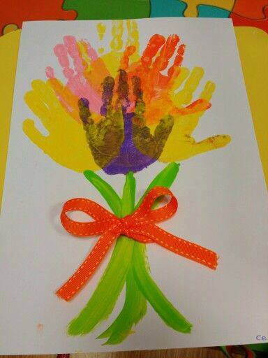 Idea to draw flowers using handprint for kids 8