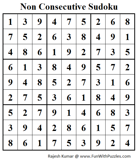 Non Consecutive Sudoku (Fun With Sudoku #163) Solution