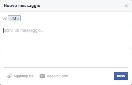 messaggio da scrivere per chattare con operatore TIM su facebook