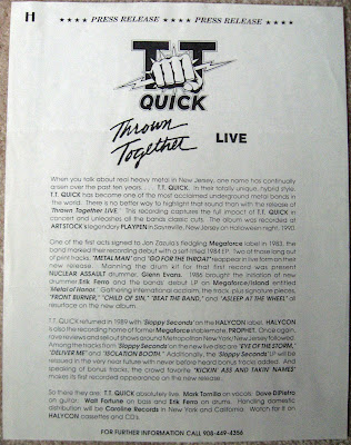 "Press release for the ""Thrown Together Live"" album"
