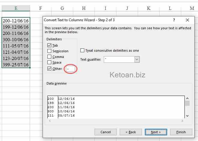 Tách dữ liệu nhanh chóng trong Excel với tính năng Text to Columns2