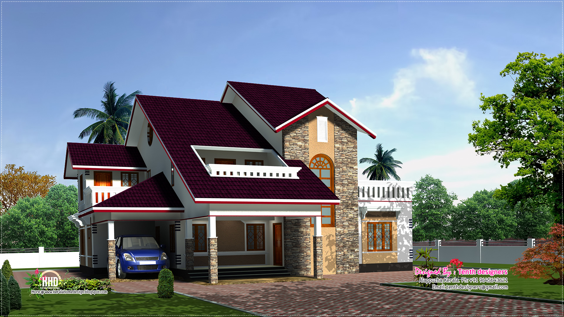 February 2013 kerala home design and floor plans for Veedu plan and elevation