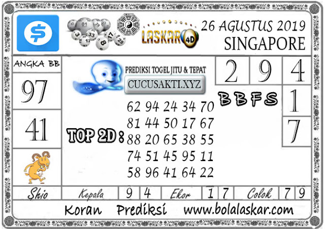 Prediksi Togel SINGAPORE LASKAR4D 26 AGUSTUS 2019