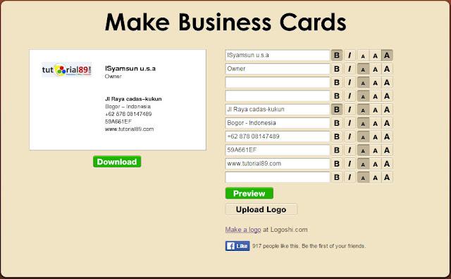 4 situs tempat membuat kartu nama secara online