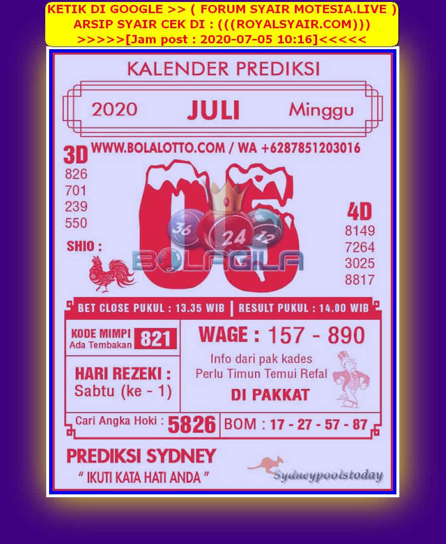 Kode syair Sydney Minggu 5 Juli 2020 92