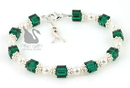 Sterling Green Organ Transplant Awareness Bracelet (B167)