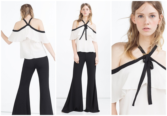cf. Proenza Schouler 2016 SS Cropped Halter Top In White Viscose Silk With Black Trim