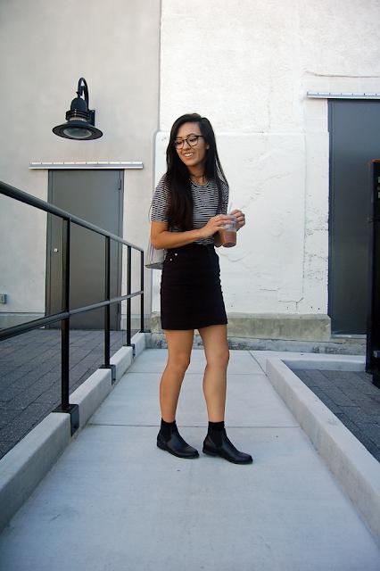 Striped Shirt Black Skirt