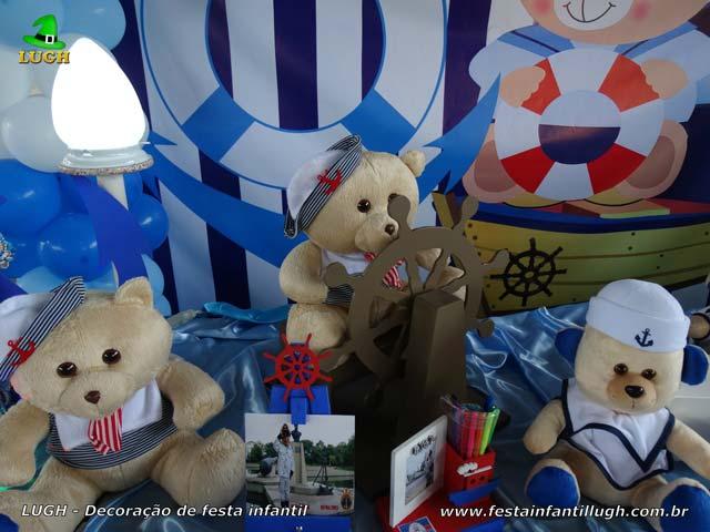 Mesa decorada tema Ursinho Marinheiro - Decoração de festa de aniversário