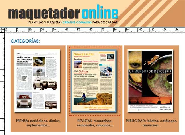 Maquetador Online Plantillas y Maquetas Gratis de Revistas, Prensa y Publicidad para Descargar