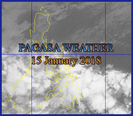 PAGASA: Image Satellite captured as of  4:30 AM today, 15 January  2018. Fishing boats and other small seacraft are advised not to venture out into the sea while larger sea vessels are alerted against big waves in areas under Gale Warning.