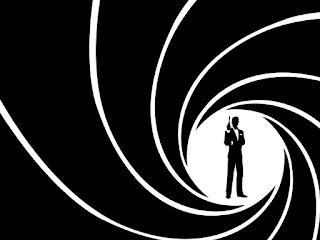 Dibujo en blanco y negro con la silueta del agente 007 dentro de una espiral estriada que simula el cañón una pistola