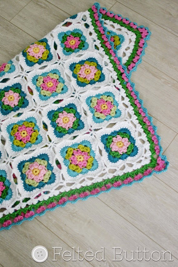 Cottage Garden Blanket crochet pattern by Susan Carlson of Felted Button (Colorful Crochet Patterns)