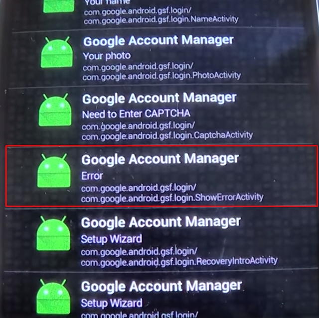 error en Google Account Manager