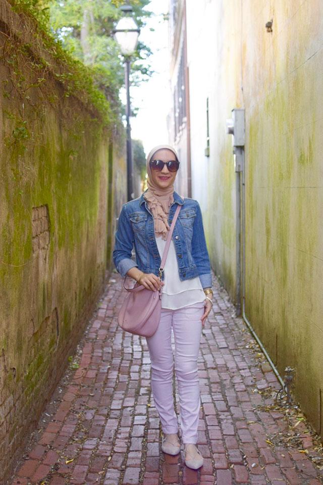 Pink Pants, Kate Spade cobble hill milieu, Denim jacket, M. Gemi Brezza flats, Vela Scarf, MAC Flat Out Fabulous Lipstick, Hijabi Fashion, Fashion Blogger