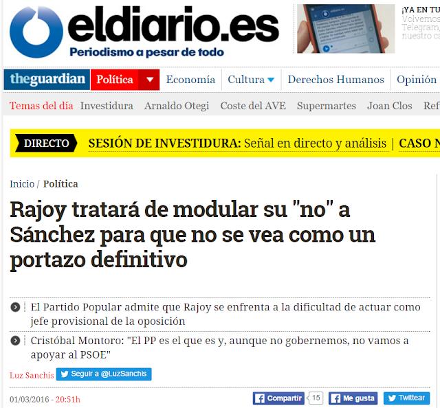 """Rajoy tratará de modular su """"no"""" a Sánchez para que no se vea como un portazo definitivo"""