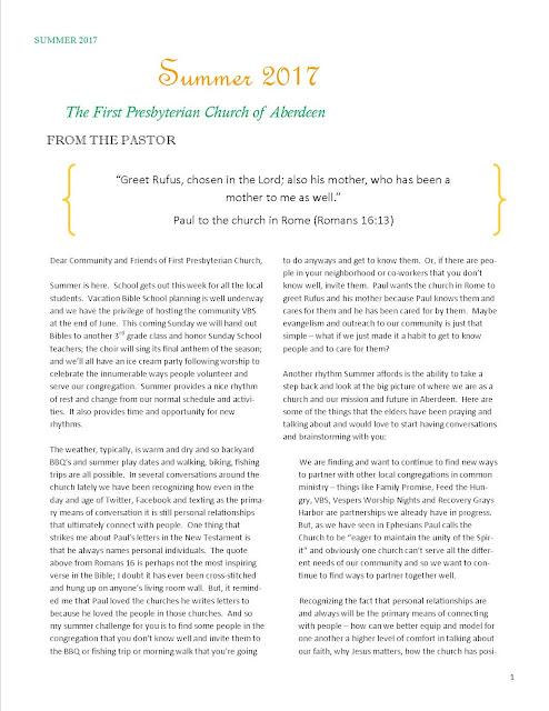 e-Newsletter Summer 2017 First Presbyterian Church of Aberdeen