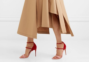 Jennifer Chamandi Roland two-tone pink and red suede sandals