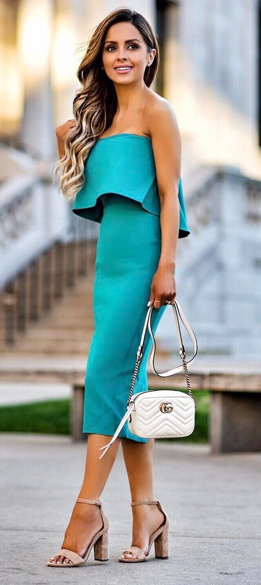 trendy outfit idea: dress + bag + heels
