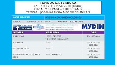 Temuduga Terbuka Mydin Mohamed Holdings di JobsMalaysia Negeri Sembilan 21 Mac 2018