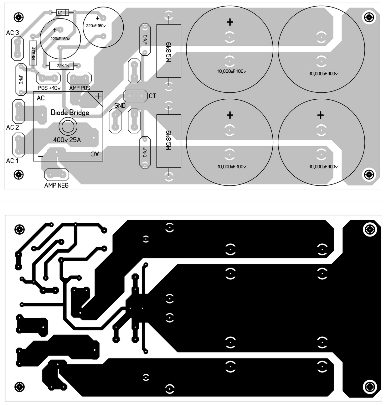 Free Wiring Diagram Car Power Amp Circuit With Pcb Design Stereo Tda2822 Audio Amplifier Suplly Layout 600 W Att