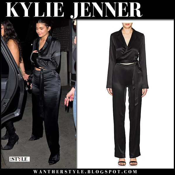 Kylie Jenner in black silk jumpsuit night out style june 1