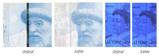 Gerçek ve sahte paraların normal ve mor ışık altındaki emniyet şeridi görünümlerinin karşılaştırılması