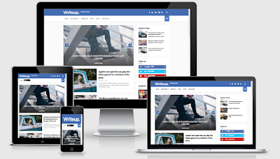 WriteUp News Blogger Template Magazine Responsive Free - Instan Blogging