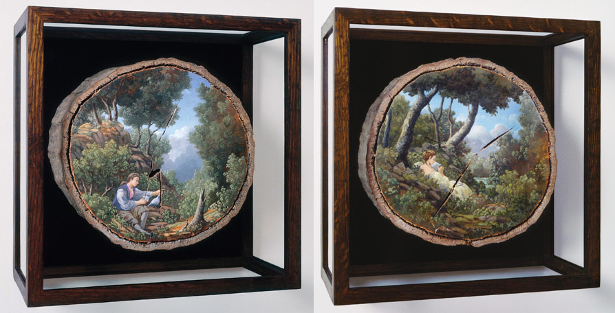 13-The-Courier-and-The-Letter-Alison-Moritsugu-Landscape-Painting-on-Tree-Logs-www-designstack-co