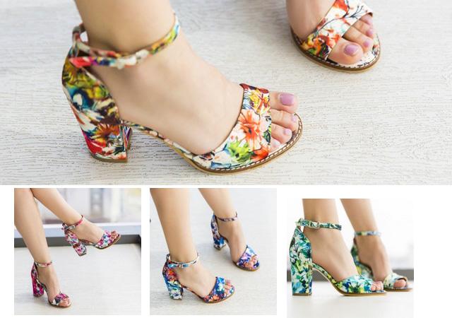 Sandale cu toc gros elegante cu imprimeu floral ieftine