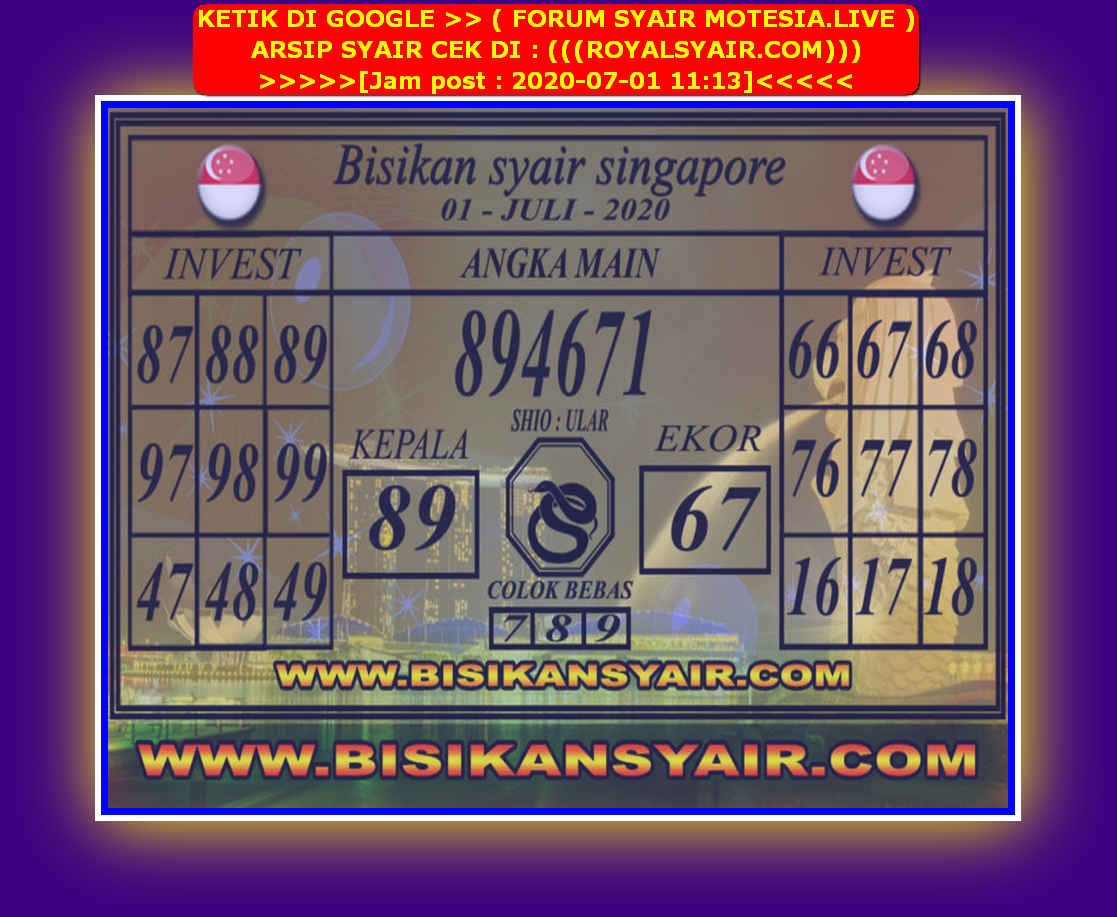 Kode syair Singapore Rabu 1 Juli 2020 185