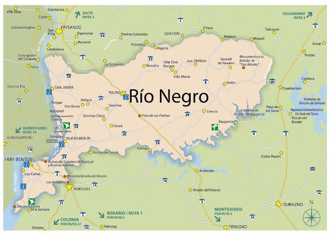 Mapa do Uruguai - Departamento de Rio Negro