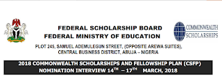 2018 Commonwealth Scholarships & Fellowship Nomination Interview Schedule