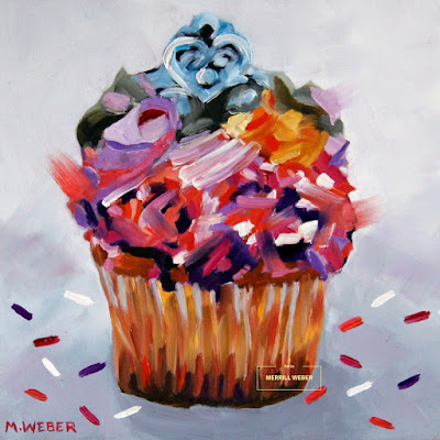 Cupcake oil painting by artist Merrill Weber