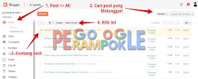 Cara Menghapus postingan blogger yang melanggar kebijakan google adsense