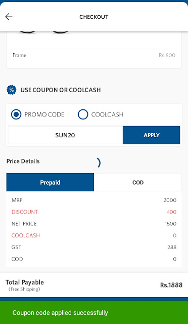 "Apply Promo code ""SUN20"""