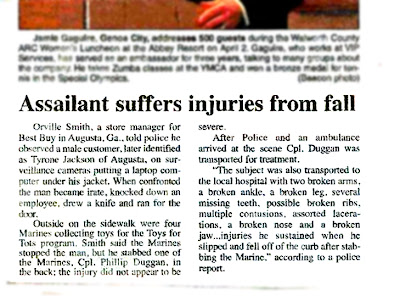 assailant suffers injuries in fall marines newspaper cutting