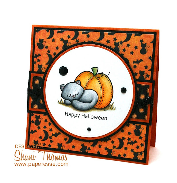 Halloween card featuring 2 Cute Ink Sleepy Kitty digital stamp, by Paperesse.