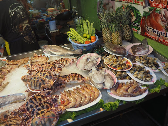Seafood stall at Naka Weekend Market, Phuket, Thailand