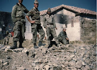 French soldiers at their post in an Algerian village after a patrol.
