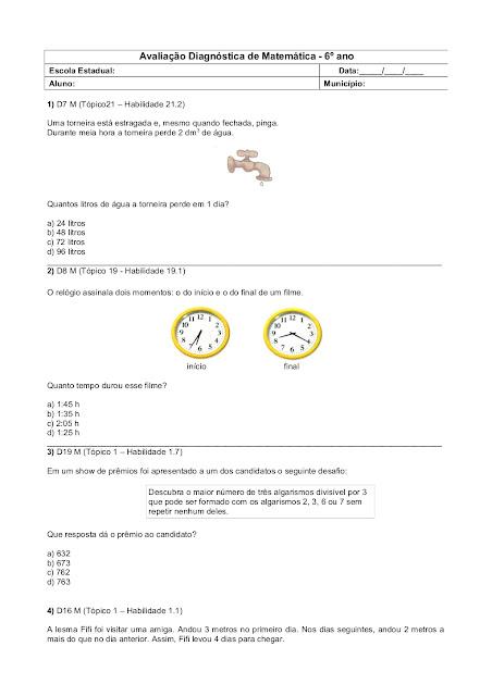 Avaliação Diagnóstica de Matemática 6 ano