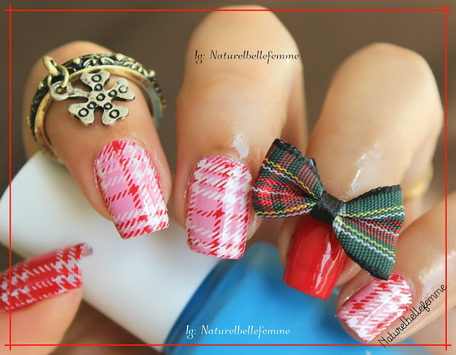pink plaid manicure