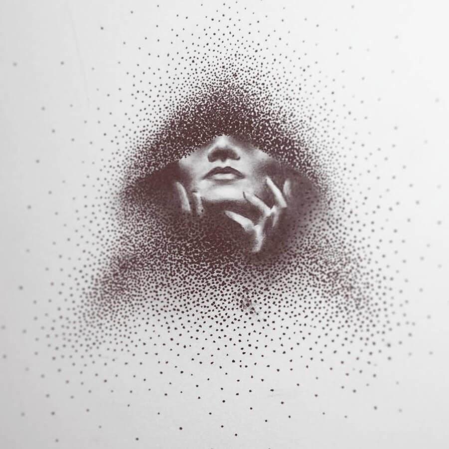13-Woman-in-a-Hoodie-Eric-Wang-Stippling-Drawings-www-designstack-co