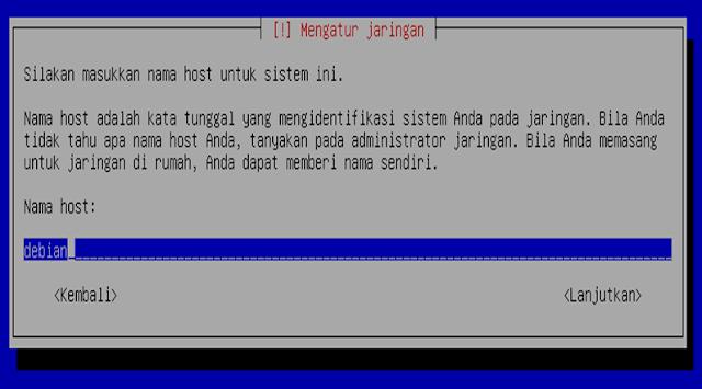 Instalasi Debian - Memberi nama Host