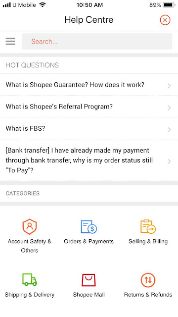 Shopee help centre