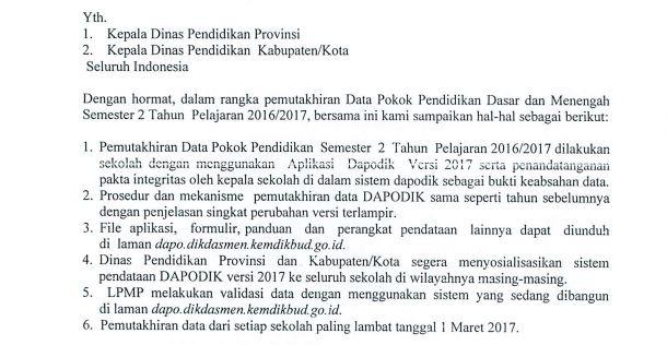 Batas Akhir Pemutakhiran DAPODIK (Data Pokok Pendidikan) Semester 2 Tahun Pelajaran 2016/2017