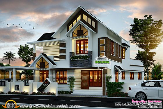 Super cute modern house plan in Kerala