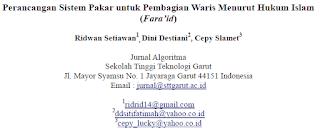 Perancangan Sistem Pakar untuk Pembagian Waris Menurut Hukum Islam (Fara'id) [PDF]