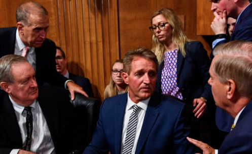 Brett Kavanaugh: Trump defers to Senate after Jeff Flake calls for FBI investigation – as it happened